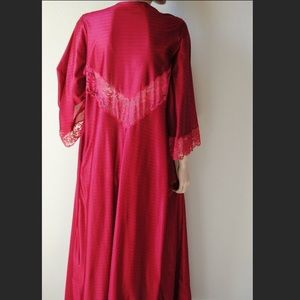 Vintage Deep Red Silky Lace Insert Long Robe